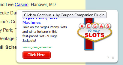 Ad by coupon companion plugin